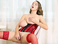 Busty Buffy loosens the tightness on her corset to let her giant natural tits hang out. She handles her boobs and makes them jiggle. She is horny as hell, so she lubes up her dildo with her mouth and starts to masturbate.