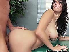 qHolly Michaels bent over a massage table for a little doggystyle with her masseur