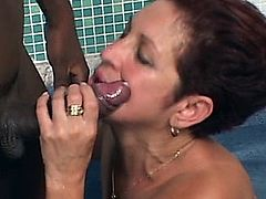 Brazilian horny mature takes a big black cock in the ass