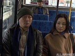 The Asian hottie was seduced by a man inside the bus while having a trip home. She gets her pussy fingered and treated like she wanted.