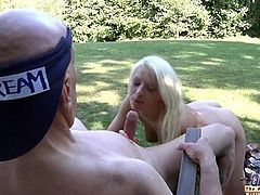 Oldman cums on young blonde's face