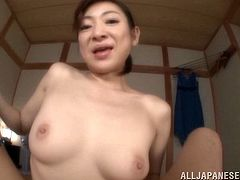 Wonderful Asian doll with natural tits in nylon stocking gives her guy handjob before enjoying her sex hole being pounded hardcore