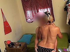 spanish amateur punk girl sets up her boyfriend with a hidden cam.