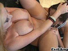 Horny foot fetish lesbian with natural tits gets cozy before stripteasing seductively while displaying her asshole indoors