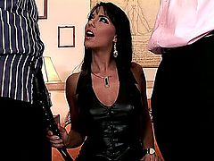 Simony Diamond is admired by many men but she only has sex with two at a time, as you'll see here in this hardcore, MMF threesome, where she's wearing her boots and thong panties, while giving one guy a blowjob.