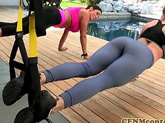 Sporty babes sharing throbbing cock outdoors by the pool. Don't miss out on this nasty femdom Kendra Lust fucks perv spying on her sexy pal Ariella Ferrera.
