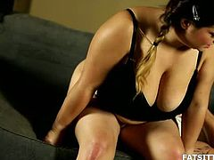 Leny is a plump brunette with huge natural melons. She sits on a guy's face for a while and she also sits on his cock. She sucks on it a little fore riding it.