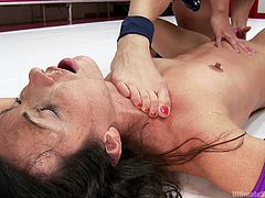 This tough dyke is a champion in the wrestling ring and she is not about to lose today. She finger blasts her opponent and step on her throat. The loser has to surrender and get her ankles tied up with rope.