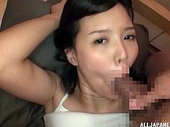 Horny Asian cowgirl with long hair gives her guy blowjob then enjoys her juicy tight pussy being pinned hardcore doggystyle