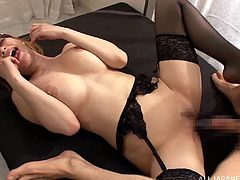 Beautiful Japanese Cowgirl with Natural Tits and Stockings gets advice from her boss as she spreads her legs then she gives hot Blowjob and nailed Missionary