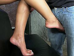 These little toes are pretty badass - what do you find when these feet come out of these hardcore leather boots? Well they don't want to walk that's for sure - watch as these little toes tease and tickle an enormous cock until it explodes with a huge load of cum!
