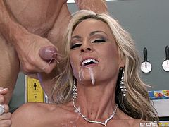 Amazing cowgirl with long hair gets her shaved pussy fingered before enjoying being pounded hardcore till the he cums in her mouth