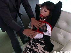 Nao Mizuki gets fucked with hands tied up in bondage. She gives an Asian cock a good blowjob and her pussy gets banged hardcore.
