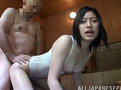Classy Japanese Cowgirl with natural Tits and in Bikini gets her lover sweet hand job her hairy pussy got fingered before damaged Doggy style