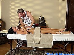 Massage loving brunette pussy touched