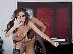 classy milf in lingerie masturbates and gets fucked