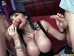 Aren't busty milfs a huge turn on? If you share the same opinion, watch a sexy black-haired milf getting dirty in the company of two horny cocks. Eva's huge tits are so great to squeeze and play with! Click to see the slutty brunette sucking dicks and rubbing her pussy in front of the camera!