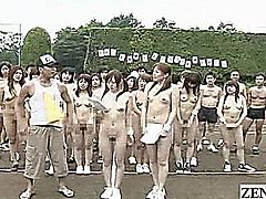 Over a dozen Japanese AV stars gambol outside in a group CMNF nudist sporting event that starts with synchronized stretching that combines standard positions with ones of a lewd nature such as butt cheek spreading before gathering together and anxiously awaiting the start of the games with subtitles