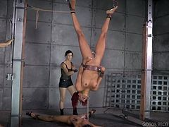 There's an entire exciting scenario waiting to be seen! Two nasty sluts have been kept in captivity down in a creepy basement. A foxy redhead and an ebony slut with dreads are tied and bonded strongly. The hanged slut experiences hard whipping while wearing a mouth gag. The other one has clamps on her nipples.