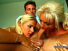 Exotic blonde in fishnet pantyhose displays her hot ass before giving a huge dick blowjob and getting drilled hardcore in a threesome sex
