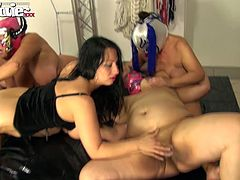 Crazy busty brunette has dirty sex with bunch of fat ugly grannies in masks
