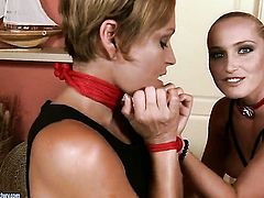 Blonde Szilvia Lauren gets her muff pie licked many times by Kathia Nobili before she gets enough