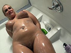 Horny Blonde In Bra with Natural Tits Blowjobs two monster hard cocks before getting Soapy in Shower and Showcasing her Shaved Pussy