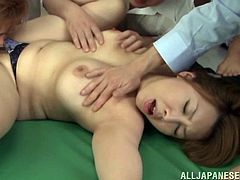 Horny Japanese teacher In bra and miniskirt gets attacked by her lustful students she does hot Blowjob then her Hairy pussy rubbed with Vibrator and nailed Hardcore