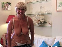 Joy, Samantha and Isabel are three British milfs and some of them are grannies too. They strip and reveal their shaven of hairy cunts. They all have huge boobs.