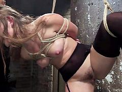 The master is in control of this cute brunette slave. she is bound in rope, and just by pulling on that rope he can make her get into position. With a tug on the cord her leg goes up in the air so that he can stick his cock in her sweet vagina.
