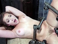 Cutie Dani was always a naughty piece of ass and this time she ended up stucked in a very uncomfortable situation. Secured and strapped in metal bars, all that she can now do is enjoy what her executor will give her. He fucks her pussy and her gorgeous mouth with a dildo, taunts her and much more. Enjoy!