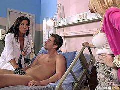 Ever fantasized about fucking your sexy doctor? The patient follows strictly his doctor's orders and lays naked on the bed. The busty doctor with long black hair takes off her uniform and persuades the blonde milf to gently suck cock. Click to watch both sluts getting undressed and sucking cock and balls!