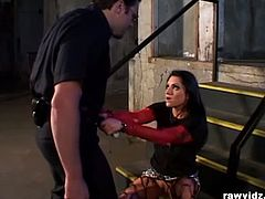 Nymphomaniac brunette Katrina Kraven caught stealing a car stereo. She thinks the only way to get the fuck out is letting this serious cop blows his load out.