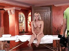 Blonde Antonya with gigantic jugs knows no limits when it comes to licking Sophie Moones love box