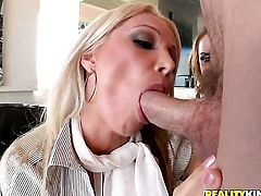 Blonde Sienna West with massive tits needs Jordan Ashs ram rod in her mouth desperately and gets it