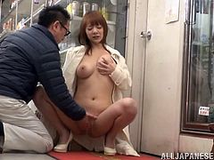 Sexy Japanese Milf Tsubasa Arai with Natural Tits enjoys as her Hairy Pussy is Fingered and gives a Reality Blowjob in Public