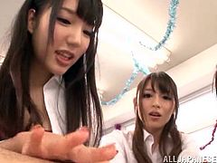 These cute Japanese schoolgirls have their teacher right where they want him. They rubs their shoes all over his body including his nipples and crotch. They make him lay on the ground and they play with is cock and butthole.