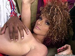 Kinky Joslyn James gets her tits rubbed by a black dude