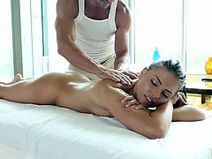 Sexy brunette Adriana Chechik gets a hot oil massage from her personal naughty masseur from head to ass to toe. He makes her body shine with oil before getting to work on her ass paying great attention to her little asshole. Face up he takes care of her breasts, erected nipple and then her hairy pussy before she begins sucking his cock deep throat. After a sloppy blowjob Adriana has both her pussy and asshole fucked hardcore on the massage table while making her masseur cum on her tongue with a hot blowjob in the end.