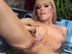 Blonde Sophie Moone gives a closeup of her bush as she masturbates