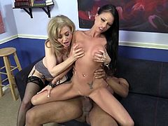 Nina Hartley and Raven Bay share a BBC in the presence of a voyeur