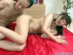 Saki's hairy pussy is available for three horny cocks. Watch incredible moments of rimjob, fingering and pussy eating and enjoy the hardcore scenes of anal sex. The brunette Asian with small tits loves to be fingered, playing with sex toys, sucking dicks and getting banged hard by angry boys. See details!