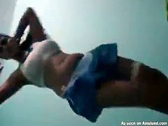 Horny cocksucking Indian babe with big fine tits giving head and riding a stiff dick
