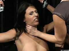 Blonde Sweet Claudia with big boobs gets her snatch eaten out good by Katy Parker