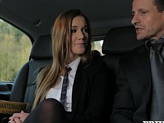 Marvelous Cowgirl with Long Hair and Miniskirt chats with her lover then kissed and Fingered suck cock and her Shaved Pussy nailed in Car Fucking scene