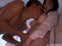 busty japanese babe in wet t-shirt gets involved in erotic kissing does titjob and performs blowjob in hardcore scene on pov