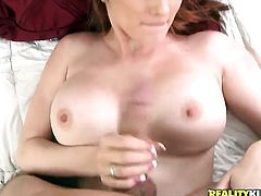 Redhead Tony Rubino with massive jugs and trimmed twat parts her legs to fuck herself with sex toy
