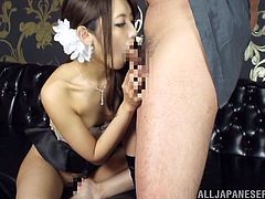 Nasty Asian gal allows a guy to finger her vag and fuck it from behind