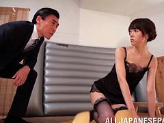 This is a hardcore fuck and blowjob scene with a horny Japanese brunette chick sucking a hot cock and gets her pussy screwed hardcore.