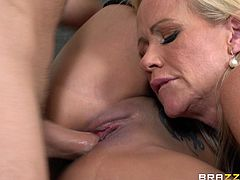 This is a naughty bang and blowjob scene with two sexy hot babes sucking a big cock and gets shaved pussies nailed hardcore.